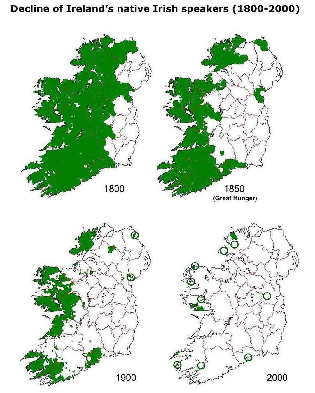 decline of ireland's native irish speaker