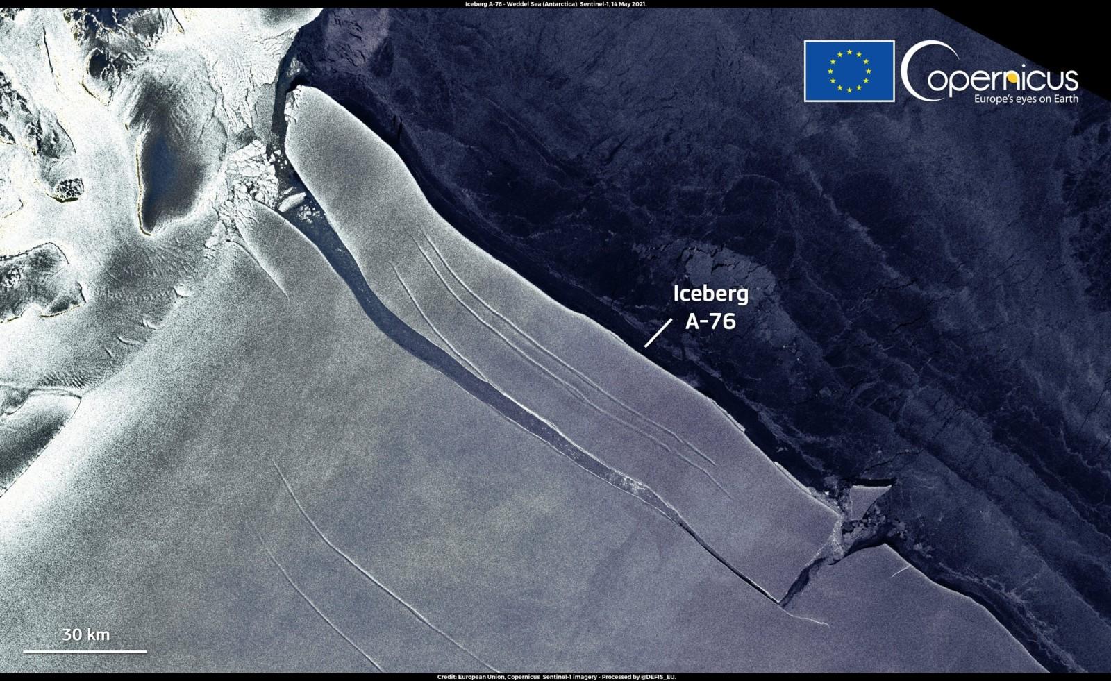 a-76 iceberg satellite image