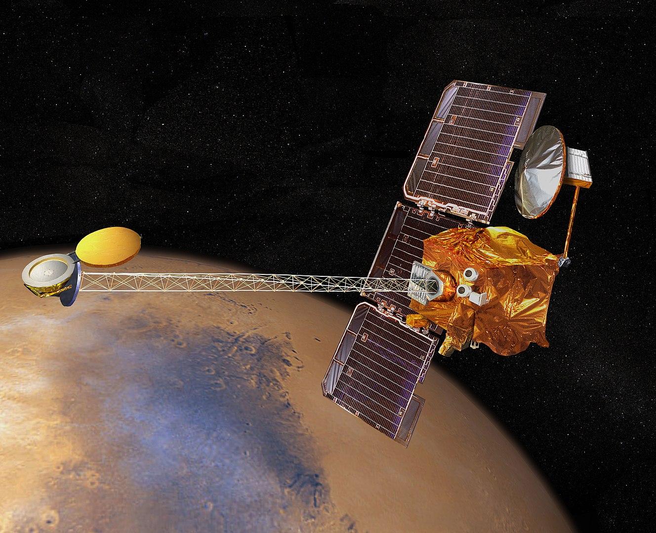 Artist's concept of 2001 Mars Odyssey orbiting Mars